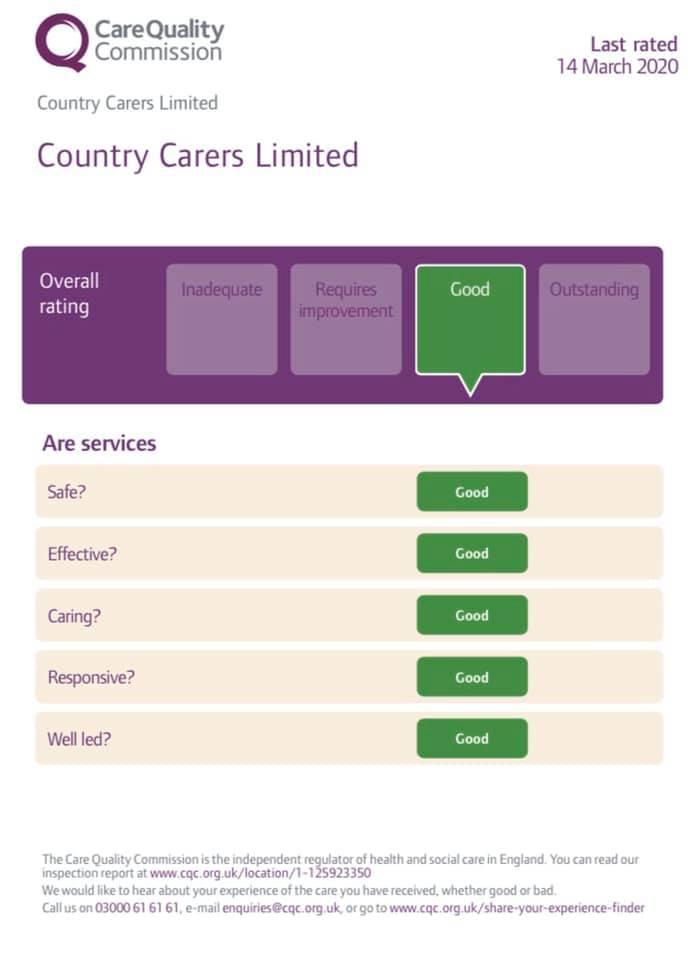 Rated 'GOOD' from CQC